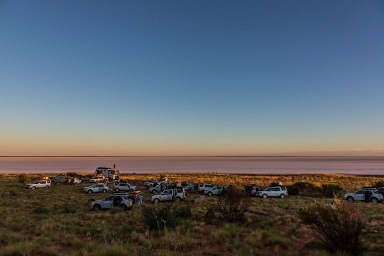 Our Land Rover Camp on the banks of Lake Mackay- a huge salt lake