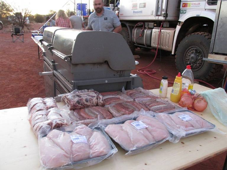 Our very own 'Bush Barbeque'. The truck carried all kinds of frozen meat in its big refregirator