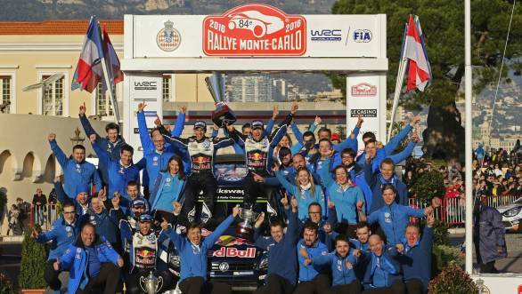 The VW Rally team celebrates their first win of the 2016 WRC season