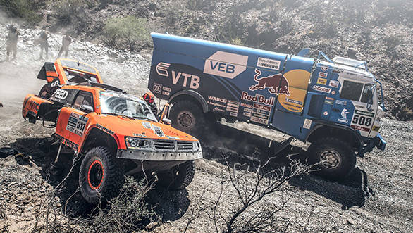 Dmitry Sotnikov (RUS) from Team Kamaz Master performs during stage 8 of Rally Dakar 2016 from Salta to Belen, Argentina on January 11, 2016. // Flavien Duhamel/Red Bull Content Pool // P-20160111-00326 // Usage for editorial use only // Please go to www.redbullcontentpool.com for further information. //