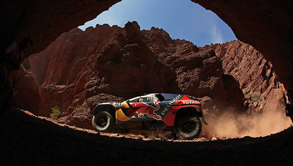 Cyril Despres (FRA) from Team Peugeot Total  performs during stage 8 of Rally Dakar 2016 from Salta to Belen, Argentina on January 11, 2016. // Frederic Le Floc'h / DPPI / Red Bull Content Pool  // P-20160112-00052 // Usage for editorial use only // Please go to www.redbullcontentpool.com for further information. //