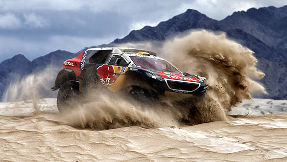 Stephane Peterhansel Team Peugeot making his way  through Stage 10
