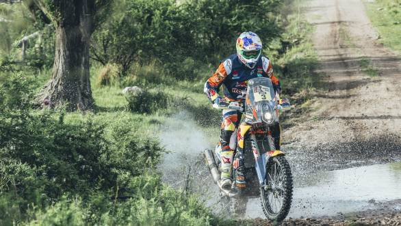 Toby Price took his KTM 450 Rallye to the head of the motorcycle class
