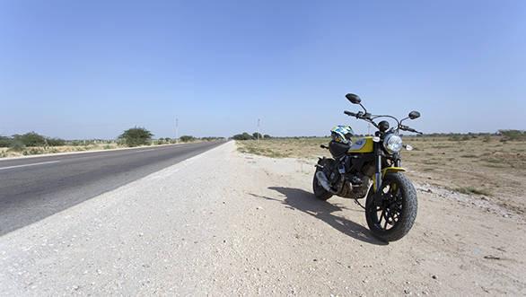 Ducati Scrambler on the highwy
