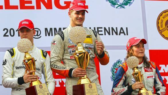 Mick Schumacher, Alessio Picariello and championship runner-up Tatiana Calderon on the podium in the final race of the season