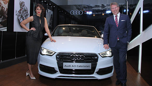 Mr. Joe King, Head, Audi India with Bollywood actress Ileana D'Cruz at the inauguration of Audi Thane