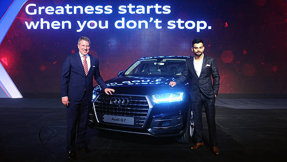 Mr. Joe King, Head, Audi India with Virat Kohli, Captain of Indian Test Cricket Team at the launch of new Audi Q7