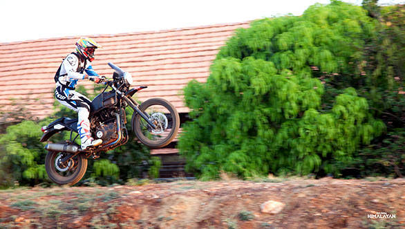 CS Santosh puts an early prototype of the Royal Enfield Himalayan through its paces at Big Rock Motopark