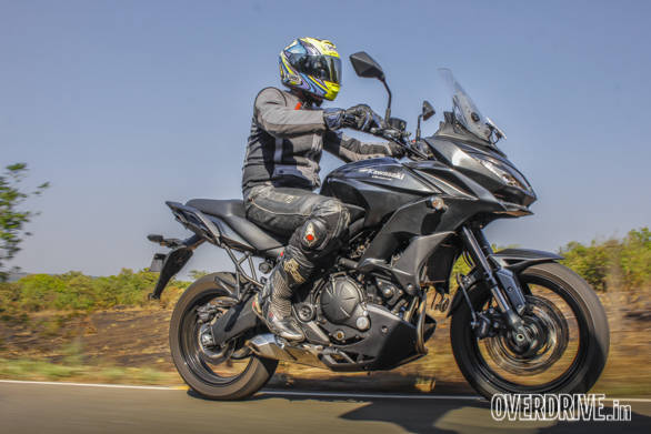 The Kawasaki Versys 650's footpegs were adjusted for this model year. The tall bars create an upright riding position that is extremely comfortable for riding all day. A wide, firm and super comfortable saddle for the rider and generous pillion pad promise extended two-up touring holidays - width=