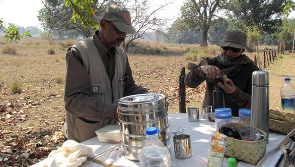 Eric D'Cunha and his wife Joylette setting up our breakfast in Kanha Tiger Reserve