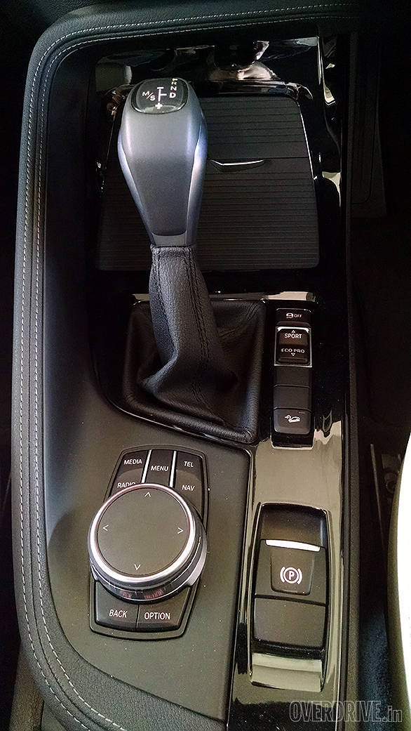 The gear selector is a new design for a BMW. Driving mode buttons allow the driver to switch between Eco, Comfort and Sport modes