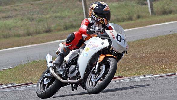Chennai's Rehana Reya, winner of the Honda All-Ladies race