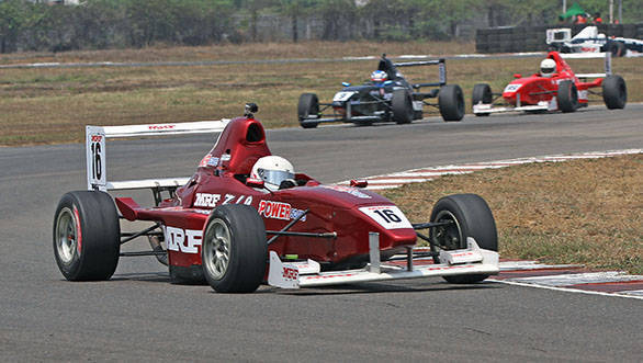 Karthik Tharani (16) who scored a double win in the MRF FF1600 championship