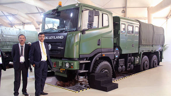 (Left to Right) - Mr. Nitin Seth, President - LCV & Defence, Ashok Leyland and Mr. Vinod Dasari, MD, Ashok Leyland with FAT 6x6