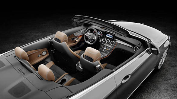 Mercedes-Benz C 220d 4MATIC Cabriolet, Edition 1,  Exterieur:  designo selenitgrau magno, AMG Line; Interior: schwarz/nussbraun,  Kraftstoffverbrauch (l/100 km) innerorts/auerorts/kombiniert:  5,4/3,9/4,5 CO2-Emissionen kombiniert: 116 g/km Exterior: designo selenite grey, AMG Line; interior:  black/nut brown  Fuel consumption (l/100 km) urban/ex urban/combined:   5.4/3.9/4.5 combined CO2 emissions:  116 g/km