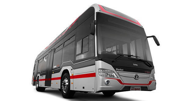 Tata Starbus Diesel Series Hybrid Electric Bus front quarter