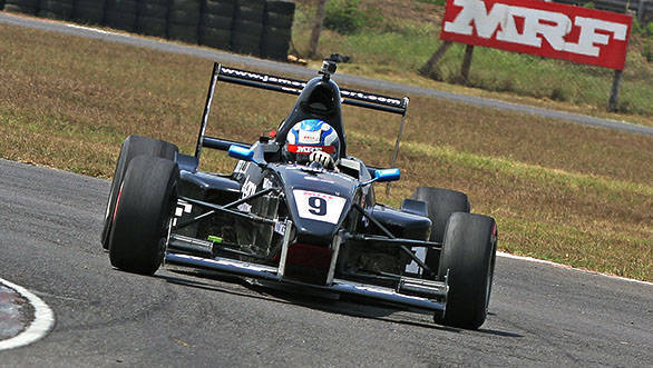 Vikash Anand taking his second win of the season in the MRF FF1600 championship