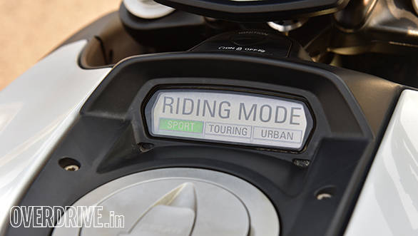Three riding modes on offer. Urban restricts power to 100PS, Touring gives full power but with milder throttle response and more intrusive traction control. Sport offers full power, crisp response and the lowest traction control setting