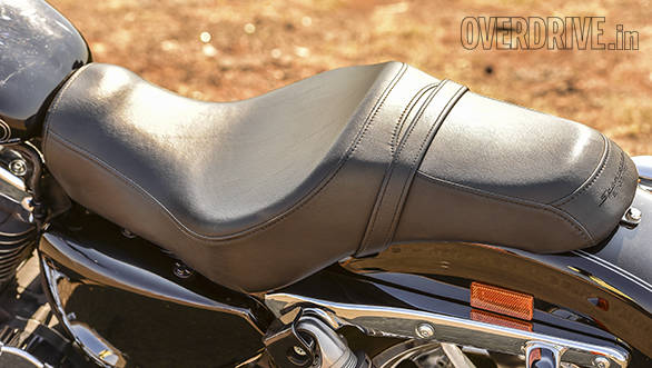 Small, downward sloping pillion seat looks neat but isn't very accommodating