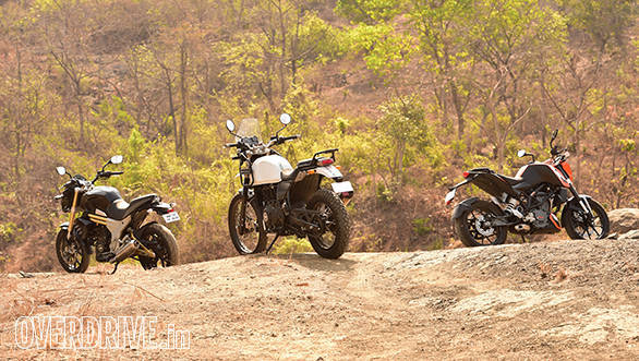 Royal Enfield Himalayan, 2016 KTM 200 Duke and Mahindra Mojo