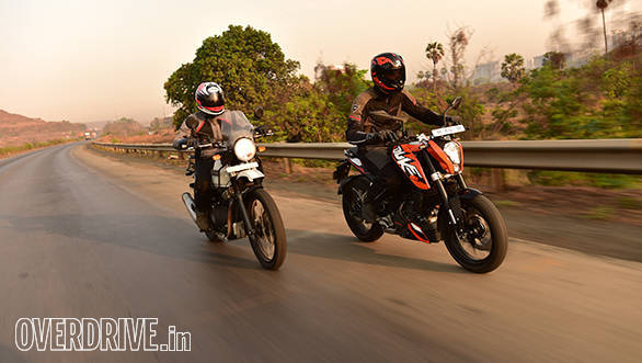 Royal Enfield and 2016 KTM 200 Duke action shot