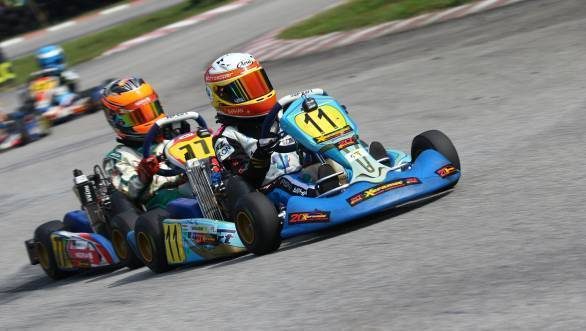 Shahan Ali Mohsin on his way to win Heat 1 at Elite Speedway during Round 2 of the 2016 Asian Rotax Max Championship