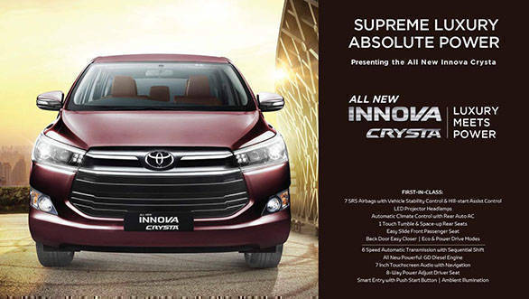 New Toyota Innova Crysta brochure leaked in India