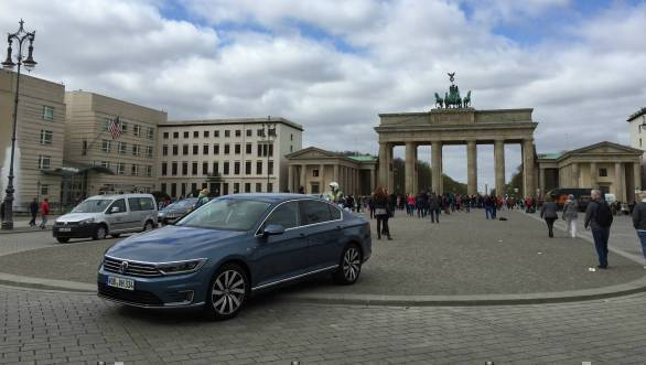 We drove the Passat GTE through Berlin. Here it is in front of the iconic Brandenburg Gate