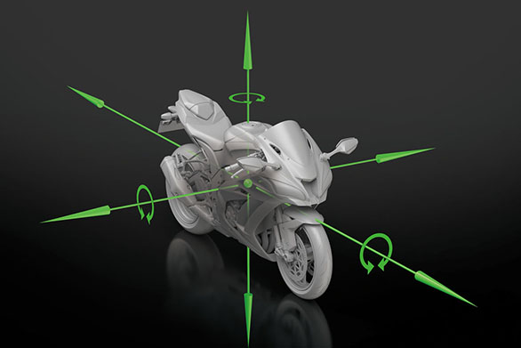 The new Bosch IMU measures five axes and the ECU uses Kawasaki software to measure the sixth