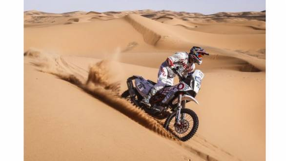Hero MotoSports Team Rally's Joaquim 'J-Rod' Rodrigues on his way to a tenth place finish at Stage 1 of the 2016 Merzouga Rally