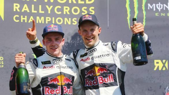 Toomas Heikkinen and Mattias Ekstrom celebrate giving EKS RX a one-two finish at HockenheimRX