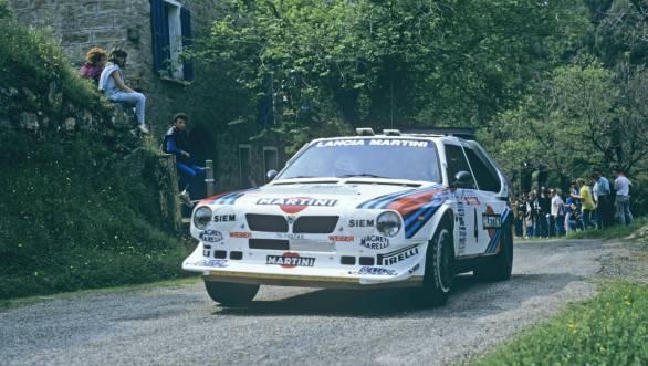 Henri Toivonen and Sergio Cresto in the Lancia Delta S4 at the 30th Tour de Corse Rally