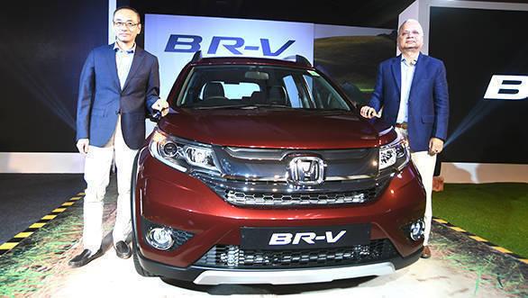 (L-R) Yoichiro Ueno, President & CEO & Raman Sharma, SVP & Director, Honda Cars India at the launch of its Bold and Versatile Honda BR-V