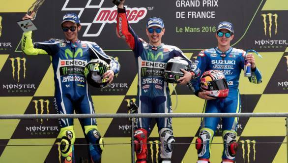 Valentino Rossi and Jorge Lorenzo celebrate their second and first place finishes for Yamaha, while Maverick Vinales celebrates his first ever premier class podium in MotoGP