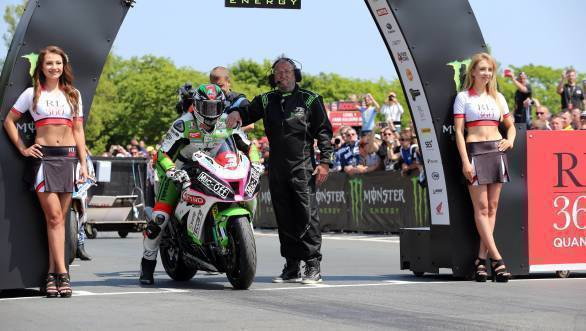 James Hillier (Quattro Plant Kawasaki) at the start of the Superstock TT