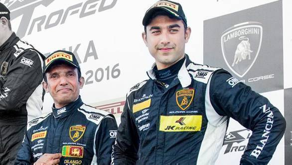 2016 Lamborghini Super Trofeo Asia Suzuka Armaan Ebrahim (right), Dilantha Malagamuwa on podium (June 12)