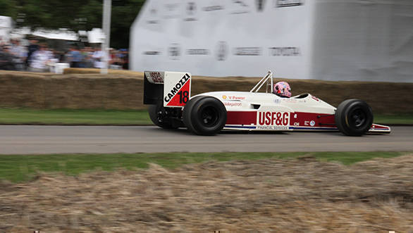 Here's Lorina McLaughlin in the Arrows-Megatron A10B - a car that was raced in the final year of F1's turbo era