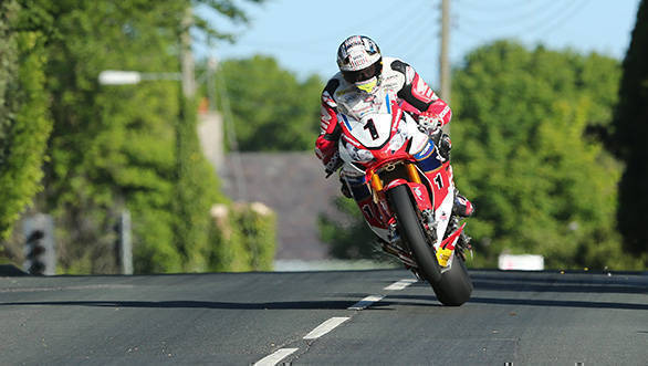 John McGuinness (Honda - Honda Racing) at Ballagarey during qualifying for Monster Energy Isle of Man TT