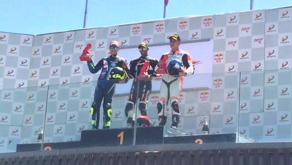 Rajini on the top step of the Superstock podium in China