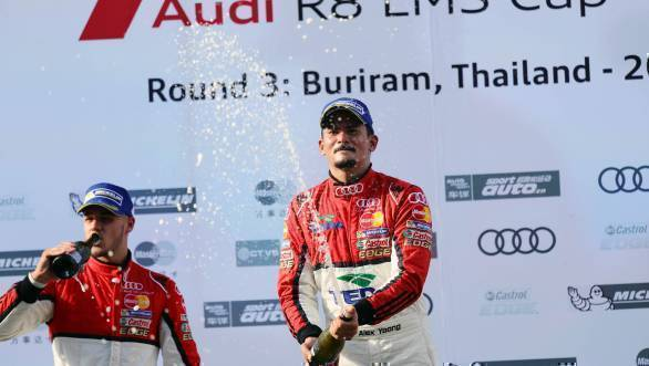 Alex Yoong (MAL) Audi TEDA Racing Team celebrates on the podium at Audi R8 LMS Cup, Rd3 and Rd4, Buriram International, Circuit, Buriram, Thailand, 22-24 July 2016.