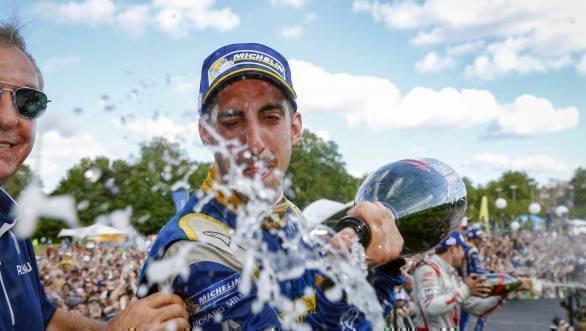 Renault e.Dams' Sebastien Buemi celebrates his championship victory at Battersea Park