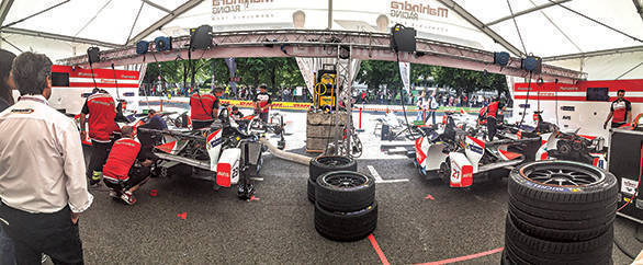 View from within the Mahindra Racing garage during the Berlin ePrix