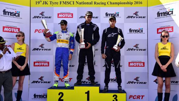Winners of the fourth Euro JK 16 race: 1st Nayan Chatterjee, 2nd Kush Maini, 3rd Ricky Donison