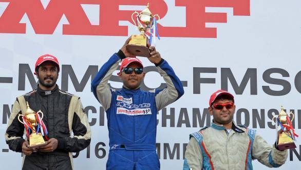 Deepak Paul Chinappa flanked by Arjun Narendrana and Ashish Ramaswamy on the Indian Touring Car race podium