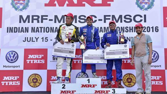 The podium in Race 2 of Round 2 of the Volkswagen Vento Cup saw guest driver Li Huiwei finish second, Ishan Dodhiwala finish first, and Sirish Chandran finish third