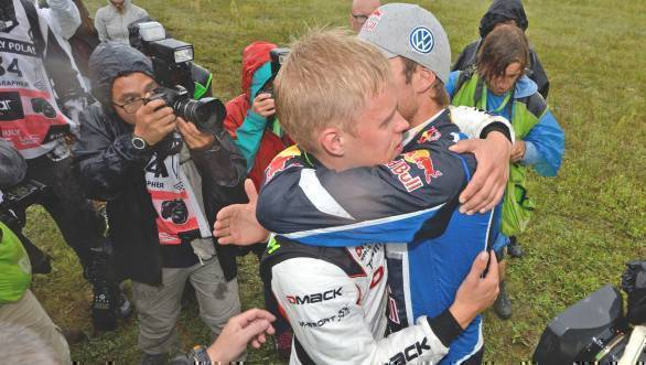 Here Tanak is consoled by his VW rival after the last stage of the rally was over