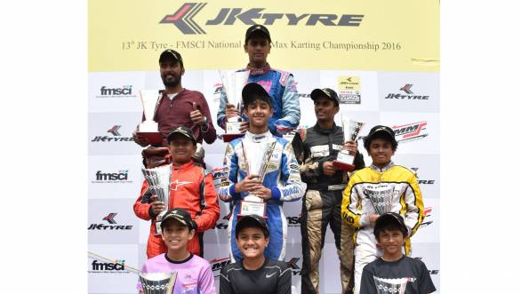 The winners in the three categories of the National Karting Championship