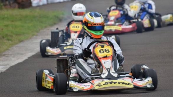 The Senior Max Category of the National Karting Championship in action at the Kari Motor Speedway