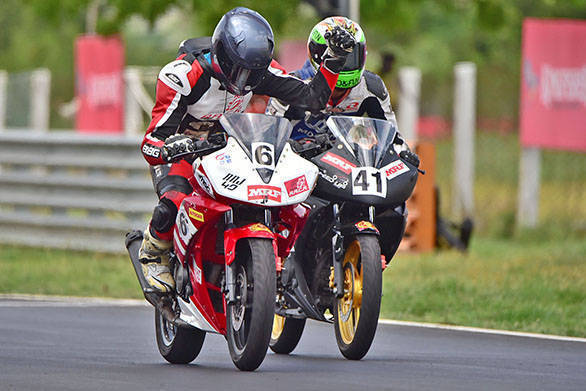 Amarnath Rajan (No.6), winner of Stock 165cc race (August 14)
