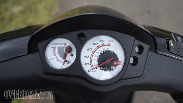 The speedo console is a simple affair with a fuel gauge and odometer